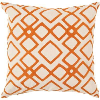 Baumgart Diamond 100% Linen Throw Pillow Cover Size: 22 H x 22 W x 0.25 D, Color: NeutralOrange