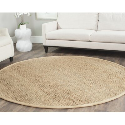 Michaels Hand-Loomed Beige Area Rug Rug Size: Round 7