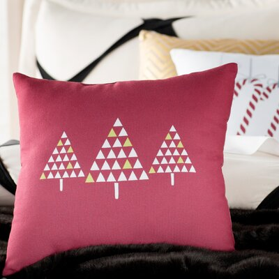 Christmas Trees Outdoor Throw Pillow Size: 20 H x 20 W, Color: Cranberry