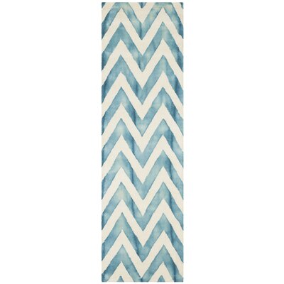 Crux Ivory/Turquoise Area Rug Rug Size: Runner 23 x 10