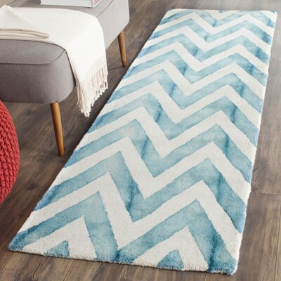 Crux Ivory/Turquoise Area Rug Rug Size: Runner 23 x 12