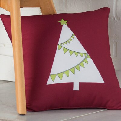 Christmas Garland Tree Throw Pillow Size: 16 H x 16 W, Color: Cranberry