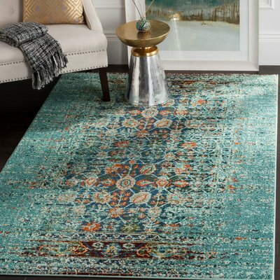 Artemis Blue/Orange Area Rug Rug Size: 9 x 12
