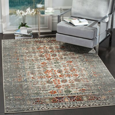 Hydra Grey / Ivory Area Rug Rug Size: Rectangle 4 x 57