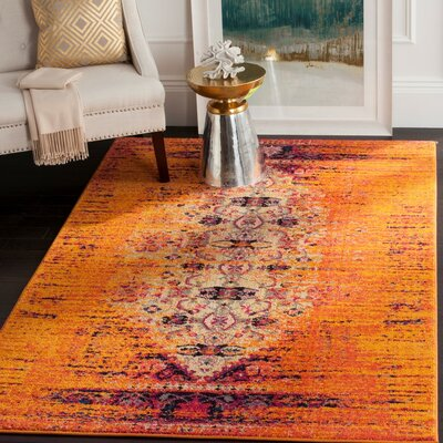 Hydra Machine Woven Orange Area Rug Rug Size: Round 5