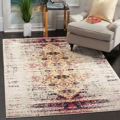 Hydra Ivory / Pink Area Rug Rug Size: 4 x 57