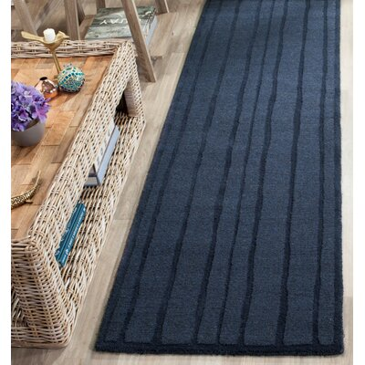 Freehand Stripe Hand-Loomed Wrought Iron Area Rug Rug Size: Round 8 x 8