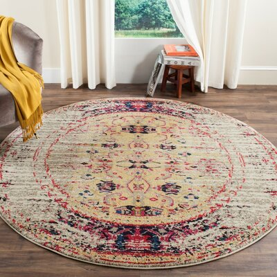 Amico Ivory / Pink Area Rug Rug Size: Round 6'7