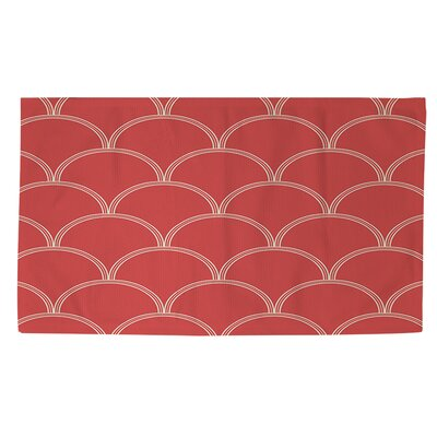 Archey Circles Coral/White Area Rug Rug Size: 4 x 6