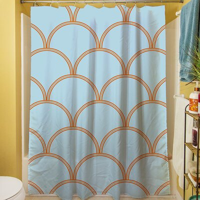 Brendan Shower Curtain Color: Blue / Orange