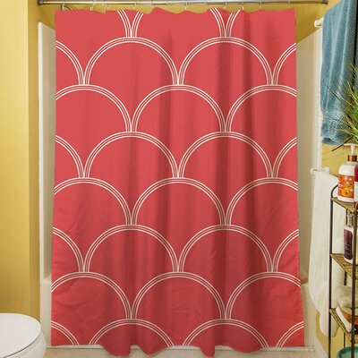 Brendan Shower Curtain Color: Coral / White