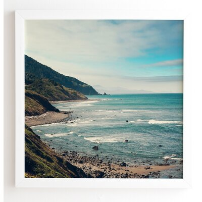 California Pacific Coast Highway Wooden Framed Photographic Print Frame Color: White, Size: 30