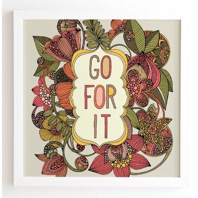 'Go For It' Framed Graphic Art Frame Color: White, Size: 20