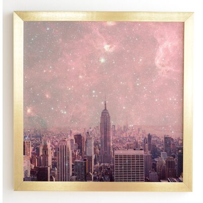 'Stardust Covering New York' Framed Graphic Art Frame Color: Gold, Size: 12