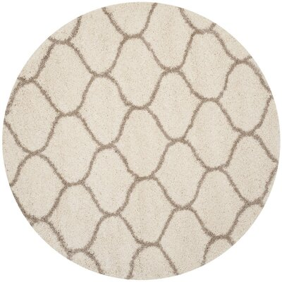 Tate Ivory/Beige Area Rug Rug Size: Round 7