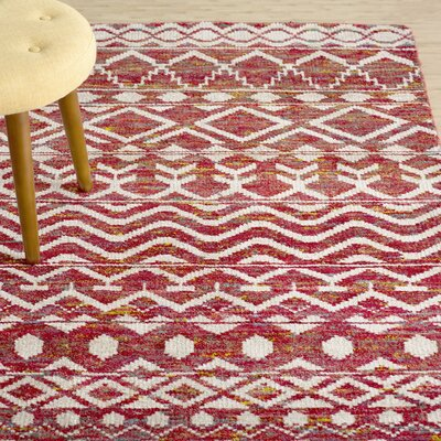 Vojtech Hand-Knotted Crimson Area Rug Rug Size: Runner 26 x 8