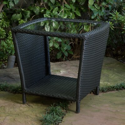 Caro Outdoor Wicker Side Table with Glass Top Finish: Black