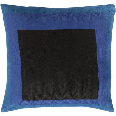 Vasquez 100% Cotton Throw Pillow Cover Size: 18 H x 18 W x 1 D, Color: BlackBlue