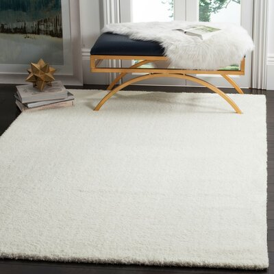 Bivins White Area Rug Rug Size: Rectangle 51 x 76