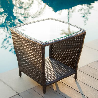 Caro Outdoor Wicker Side Table with Glass Top Finish: Brown