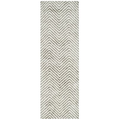 Arceo Hand-Tufted Ivory/Gray Area Rug Rug Size: Runner 26 x 8