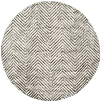 Arceo Hand-Tufted Ivory/Gray Area Rug Rug Size: Round 6