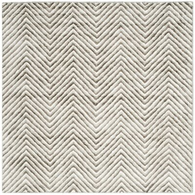 Arceo Hand-Tufted Ivory/Gray Area Rug Rug Size: Square 6