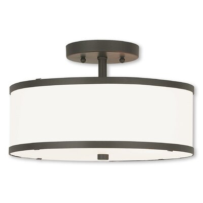 Cana 2-Light Drum/Cylinder Shade Semi Flush Mount Finish: Bronze, Size: 7.5 H x 18 W x 18 D