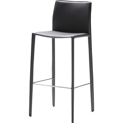 Branco 26 Bar Stool (Set of 2) Seat: Black Leather