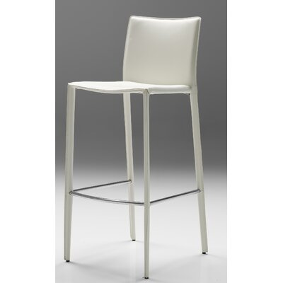 Branco 30 Bar Stool (Set of 2) Seat: White Leather