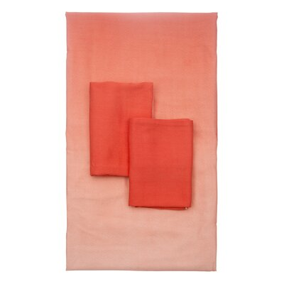 Lauralee 4 Piece 250 Thread Count 100% Viscose Rayon from Bamboo Sheet Set Size: King, Color: Coral