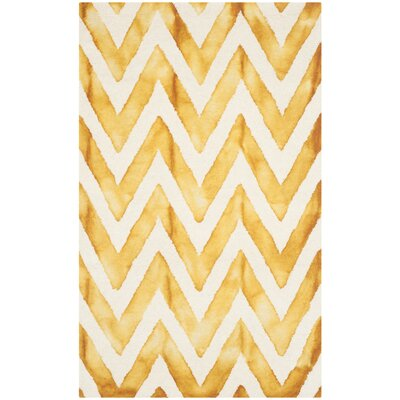 Crux Hand-Tufted Ivory / Gold Area Rug Rug Size: 3 x 5