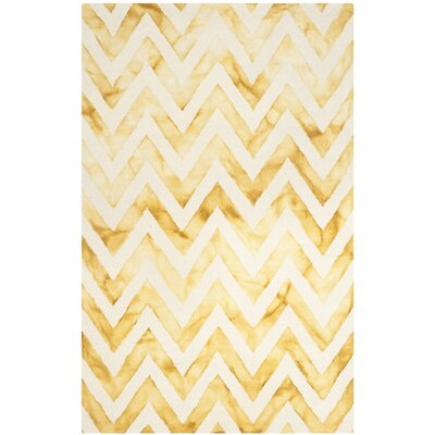 Crux Hand-Tufted Ivory / Gold Area Rug Rug Size: 5 x 8