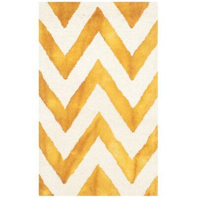 Crux Hand-Tufted Ivory / Gold Area Rug Rug Size: 2 x 3