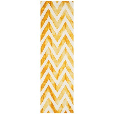 Crux Hand-Tufted Ivory / Gold Area Rug Rug Size: Runner 23 x 6