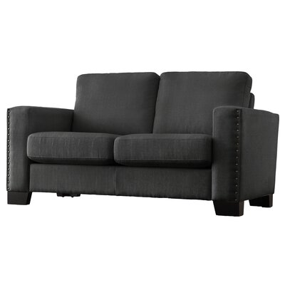 Blackston Nailhead Trim Loveseat Upholstery: Dark Gray