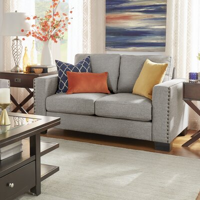 Blackston Nailhead Trim Loveseat Upholstery: Grey