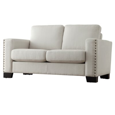 Blackston Nailhead Trim Loveseat Upholstery: White