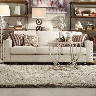 Blackston Nailhead Trim Sofa Upholstery: White