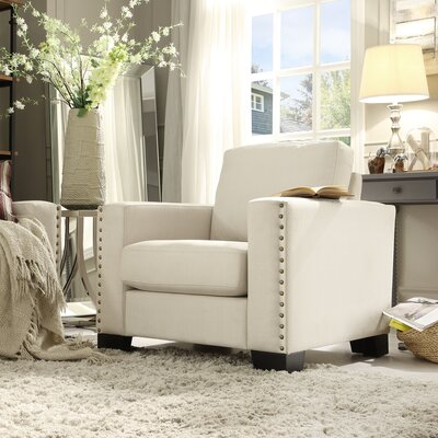 Blackston Nailhead Trim Arm Chair Color: White