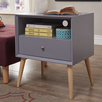 Blakeney End Table With Storage Color: Frost Gray