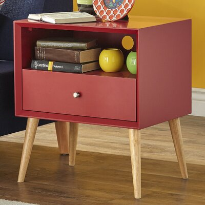 Blakeney End Table With Storage Color: Samba Red