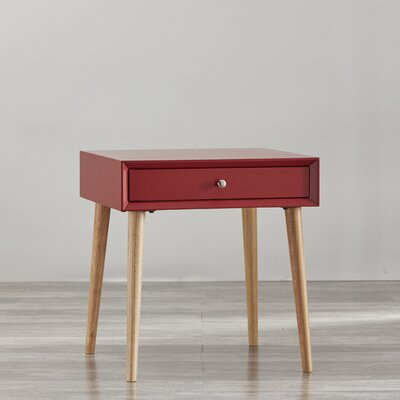 Blakeney 1 Drawer End Table Finish: Samba Red