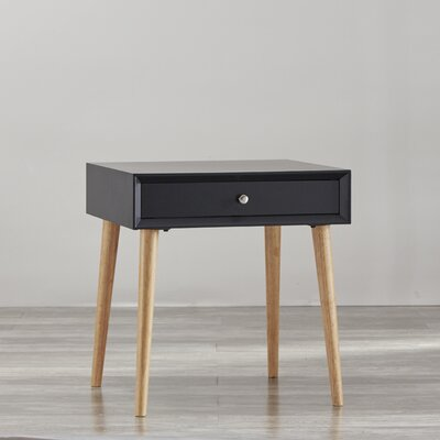 Blakeney 1 Drawer End Table Finish: Vulcan Black