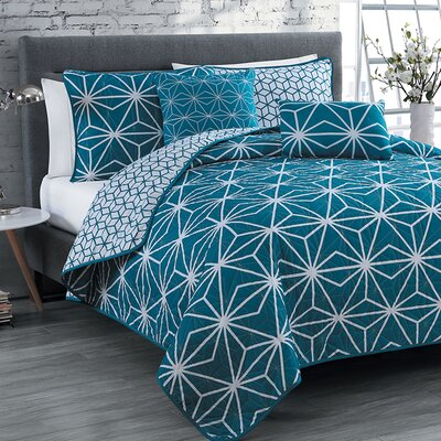 Bohnsack 5 Piece Quilt Set Size: Queen, Color: Blue