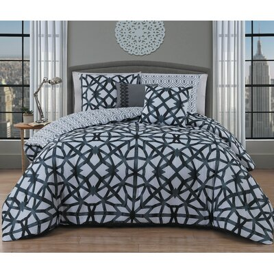 Bolding 5 Piece Comforter Set Color: Black, Size: Queen