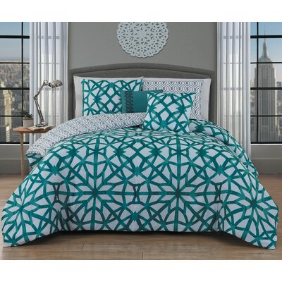 Bolding 5 Piece Comforter Set Size: Queen, Color: Teal
