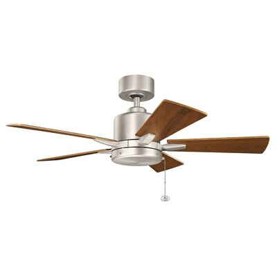 42 Bona 5-Blade Ceiling Fan Finish: Brushed Nickel with Walnut Blades