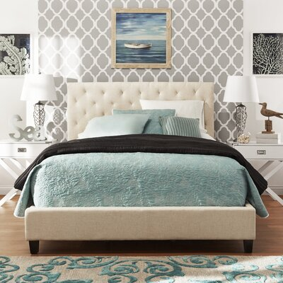 Tripoli Upholstered Wood Frame Platform Bed Size: King, Color: Beige