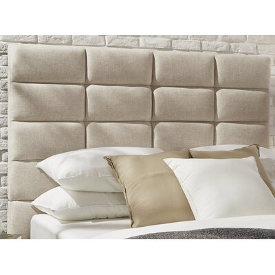 Rose Upholstered Wood Frame Panel Headboard Size: Queen, Upholstery: Beige